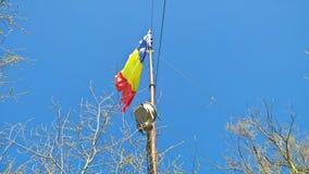Rumänische Flagge an Tampa-Berg, Brasov stockfotografie
