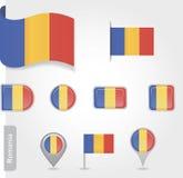 Rumänische Flaggenikone Stockbild