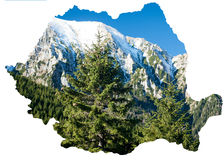 Rumänische Karte und die Karpaten stockfoto