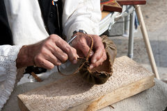 Rumänische traditionelle Sandelholzherstellung Lizenzfreies Stockbild