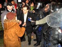 Rumänischer Protest 19/01/2012 - Ludovic Orban Lizenzfreies Stockfoto