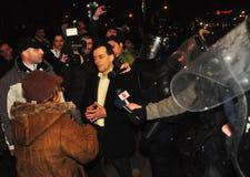 Rumänischer Protest 19/01/2012 - Ludovic Orban Lizenzfreie Stockfotografie
