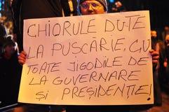 Rumänischer Protest 19/01/2012 - regierungsfeindliches bann Stockfotografie