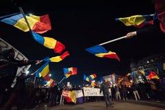 Rumänischer Protest für Demokratie stockbild