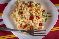 Rumänischer traditioneller Boeuf-Salat Lizenzfreies Stockfoto