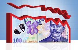 Rumänisches Geldfinanzdiagramm. Mit Ausschnittspfad. Lizenzfreies Stockfoto