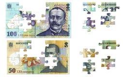 Rumänisches Geldpuzzlespiel Stockfotos