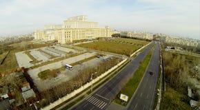 Rumänisches Parlament von oben Lizenzfreie Stockfotografie