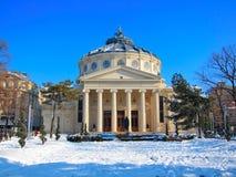Rumänsk Athenaeum, Bucharest, Rumänien Arkivbilder