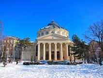 Rumänsk Athenaeum, Bucharest, Rumänien Arkivfoto