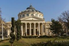 Rumänsk Athenaeum, Bucharest Rumänien - yttersidasikt Royaltyfria Bilder
