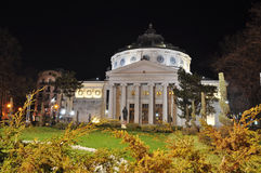 Rumänsk Atheneum Nightscene Arkivbilder