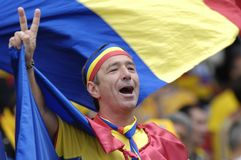 Rumänsk fotbollventilator Royaltyfri Fotografi