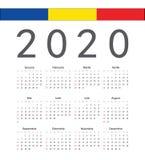 Rumänsk kalender för 2020 år för fyrkant vektor royaltyfri illustrationer