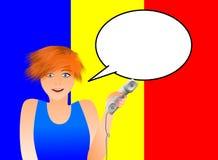 Rumänsk kvinna med telefonen royaltyfri illustrationer