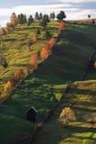 Rumänsk by på bygd med det gamla wood huset och pinjeskogen arkivfoto