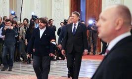 Rumänsk parlament - presidentanförande - politik Arkivbilder