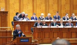 Rumänsk parlament - rörelse av inget förtroende mot regleringen Royaltyfri Foto