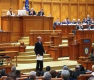 Rumänsk parlament - rörelse av inget förtroende mot regleringen Arkivfoto