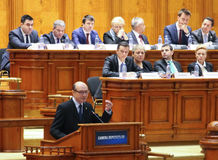Rumänsk parlament - rörelse av inget förtroende mot regleringen Arkivbilder