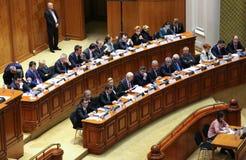 Rumänsk parlament - rörelse av inget förtroende mot regleringen Arkivbild