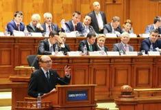 Rumänsk parlament - rörelse av inget förtroende mot regleringen Arkivfoton