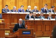Rumänsk parlament - rörelse av inget förtroende mot regleringen Royaltyfri Fotografi