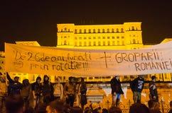 Rumänsk protest 04/11/2015 Royaltyfri Bild