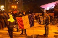 Rumänsk protest 04/11/2015 Arkivbild