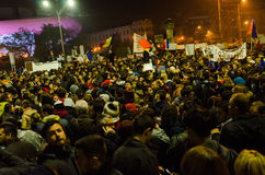 Rumänsk protest 05/11/2015 Arkivbild