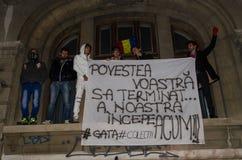 Rumänsk protest 05/11/2015 Arkivfoto