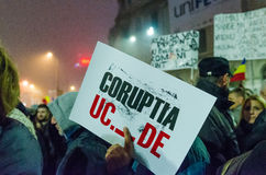 Rumänsk protest 06/11/2015, Bucharest Royaltyfri Foto