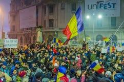 Rumänsk protest 06/11/2015, Bucharest Royaltyfri Fotografi