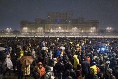 Rumänsk protest mot regering Royaltyfria Foton