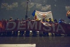 Rumänsk protest mot regering Royaltyfri Fotografi