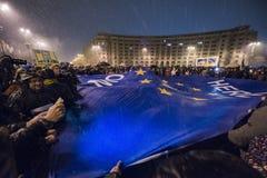 Rumänsk protest mot regering Royaltyfri Foto