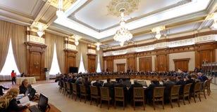 Rumänsk regering som ledas av Sorin Grindeanu - rumänska Parliamen arkivbild