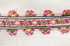 Rumänsk traditionell blus - texturer och traditionella motiv Royaltyfri Fotografi