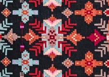 Rumänska folk sömlösa modellprydnader Rumänsk traditionell broderi Etnisk texturdesign Traditionell mattdesign Carpe arkivfoto