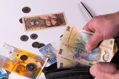 Rumänska, kinesiska och schweiziska sedlar och mynt arkivbild