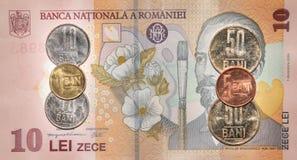 Rumänska pengar: 10 lei Royaltyfri Fotografi