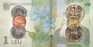 Rumänska pengar: 1 leu Fotografering för Bildbyråer
