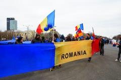 Rumänska protester på 54 dag, Bucharest, Rumänien Arkivbilder