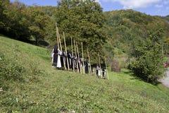 Rumänska traditionella dräkter arkivbild