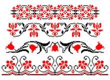 Rumänskt traditionellt blom- tema stock illustrationer