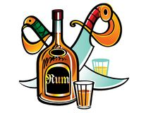 Rum. Bottle of Rum with two sabres stock illustration