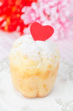 Rum Baba Decorated With Red Hearts On A Plate Closeup Stock Photography