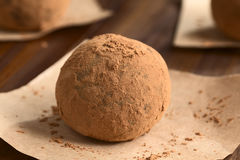 Rum Ball. Homemade rum ball covered with cocoa powder on brown paper, photographed with natural light (Selective Focus, Focus on the front of the ball royalty free stock photo