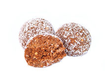 Rum balls. Chocolate truffles stock photo