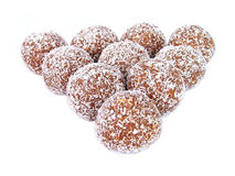 Rum balls. Chocolate truffles triangle royalty free stock photo